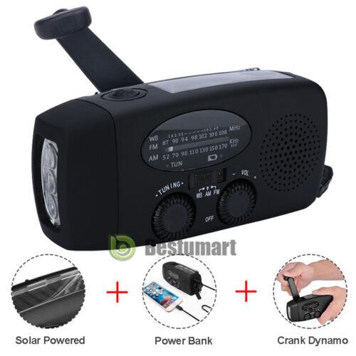 SOS Emergency Solar Hand Crank Dynamo AM//FM//WB Radio 3LED Flashlight USB Charger