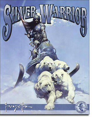 Frazetta Silver Warrior Polar Bears Fighter Comic Drawing Metal Sign