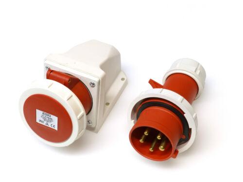 16 amp 5 pin plug and wall mount socket IP67 waterproof 3P+N+E red 3 phase 415V