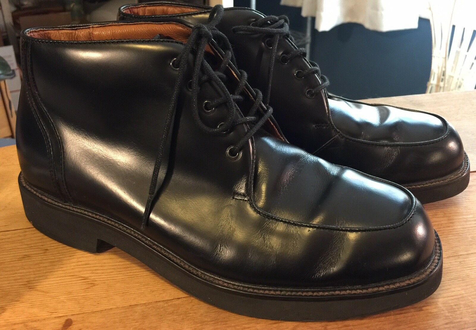 Mens Rockport Ankle High Boots shoes Black Size 8 Wide M2758 Leather Uppers