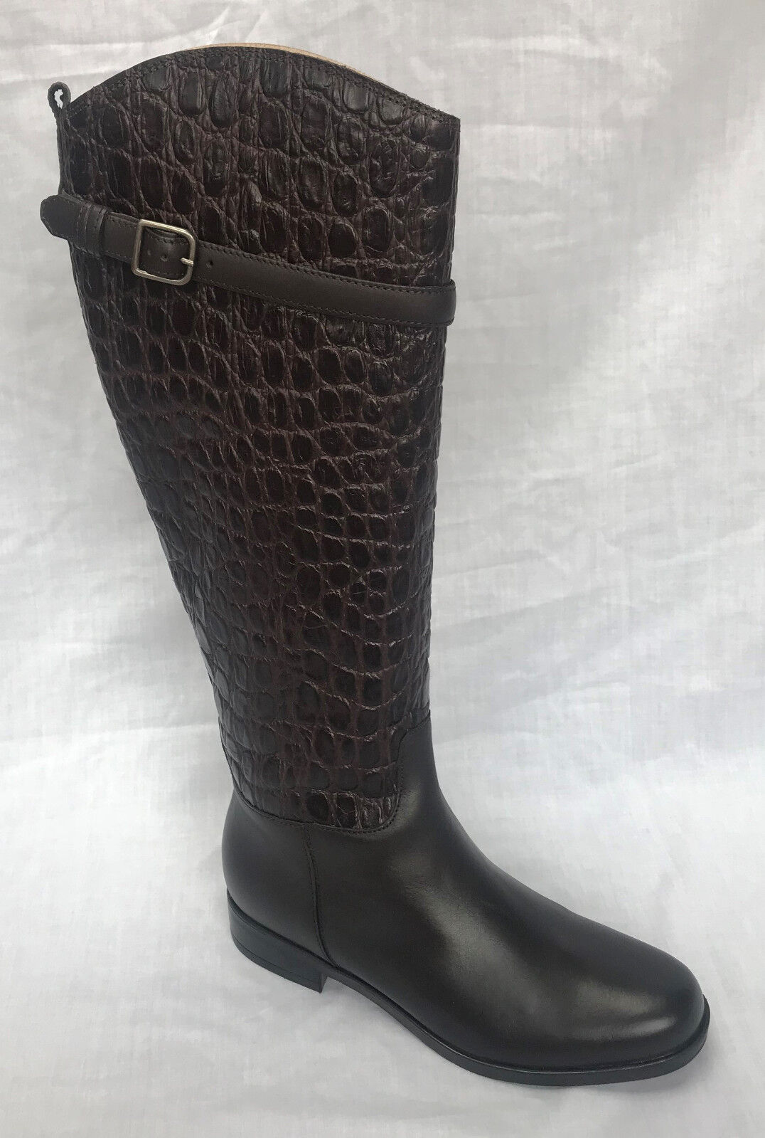 BCBG SHAYNA COGNAC BROWN DISTRESSED KNEE HIGH GOLD BUCKLE LUG SOLE LEATHER BOOTS