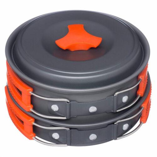 9PCS Outdoor Hiking Camping Cookware Backpacking Cooking Picnic Bowl Pot Pan Set