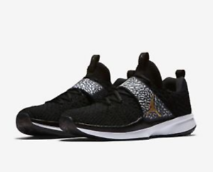 3a94db3affe7 Nike Air Jordan Trainer 2 Flyknit Mens Training Shoes LA Black Gold ...