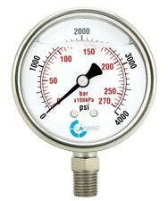 25 Liquid Filled Pressure Gauge 0 4000 Psi Stainless Steel Case Lower Mount