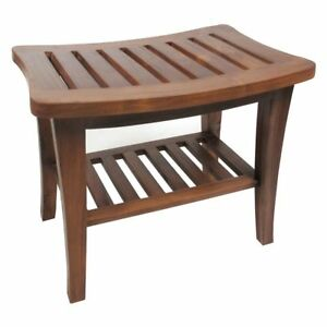 Cool Details About Bathroom Shower Bench With Shelf Teak Wood Spa Bath Seat Sauna Stool Furniture Theyellowbook Wood Chair Design Ideas Theyellowbookinfo