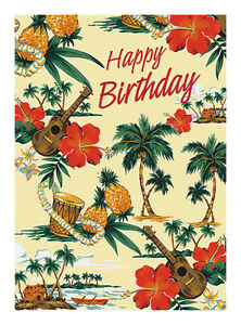 Image Is Loading 4 GREETING CARDS Hawaiian HAPPY BIRTHDAY Island Scene