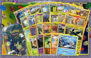 Lot-60-Cartes-Pokemon-Differentes-Francaises-Dont-Boite-Metal-Jeton-Rares-100PV