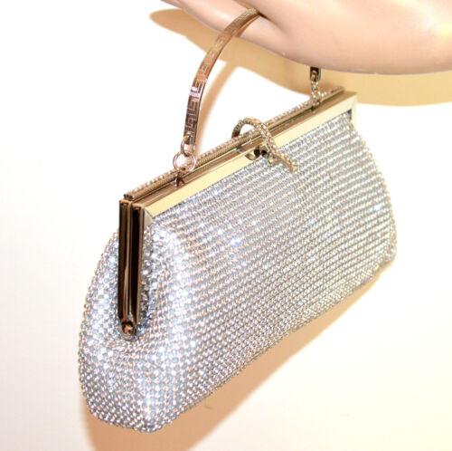 Sac Pochette Scintillement G58 Bag Élégant Clutch Argent Cristaux Femme Strass vvwPqr