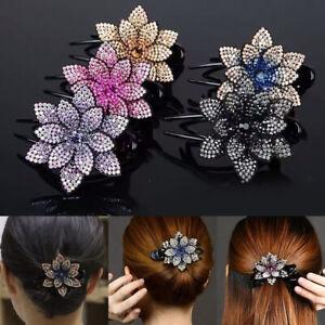 Women-Girl-Headwear-Duckbill-Flower-Hair-Clips-Rhinestone-Hairpin-Hair-Claws
