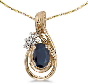 14k-Yellow-Gold-Oval-Sapphire-And-Diamond-Teardrop-Pendant-Chain-NOT-included