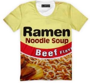 New-Fashion-Womens-Mens-Ramen-Noodle-Soup-Funny-3D-Print-Casual-T-Shirt-YT1019