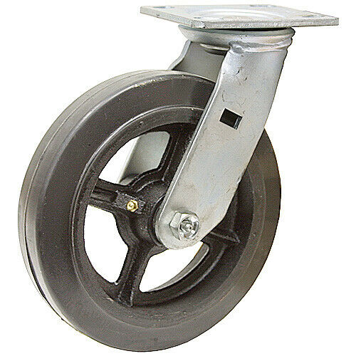 "8/"" X 2/"" SWIVEL PLATE CASTER 600 lb RUBBER TIRE 1-1722-S"