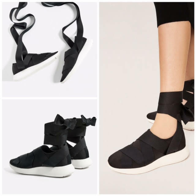 ZARA NEW LACE-UP SNEAKERS BLACK 2714/201