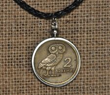 Authentic Greek Owl of Goddess Athena 2 Drachma Phoenix Coin Pendant Necklace