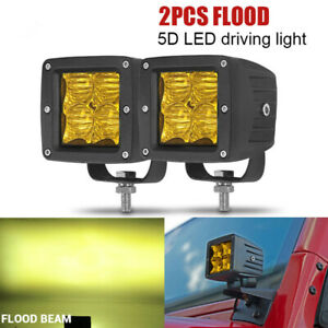 2x 3inch Amber White Dual Color Led Work Light Cube Pods Flood ATV Fog Warning