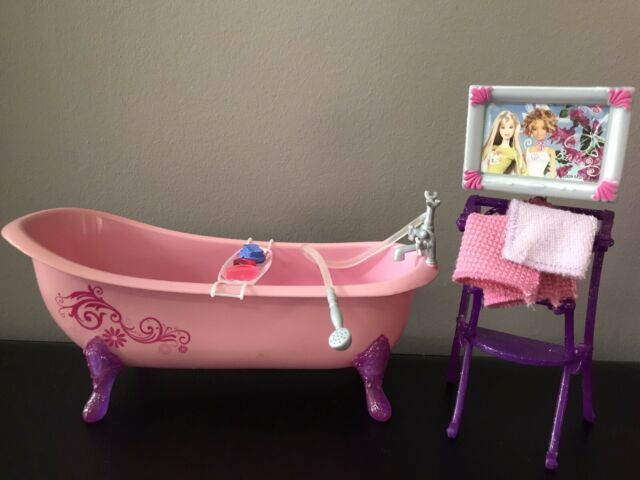 BARBIE Dream House GLAM Bathroom PINK BATHTUB Towel Rack ...