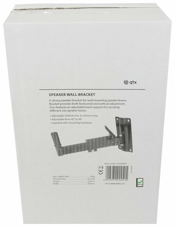 QTX Speaker Wall Bracket - Loudspeaker Bookshelf