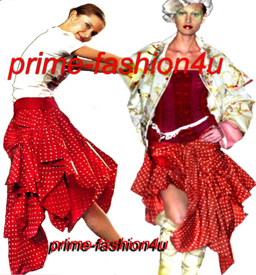 John Galliano Christian Dior Polka Dot Jacquard Belt Asymmetrical Pleated Skirt