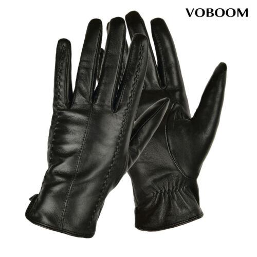 100/% Schafspelz Handschuhe Schwarz Damen Leder Handschuhe Winter Winddicht JM01