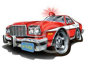 Starsky Hutch 76 Gran Torino Muscle Car Cartoon T Shirt