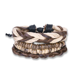 Men-Women-Fashion-Leather-Bangle-Beaded-Cuff-Wristband-Bracelet-4pc-Set