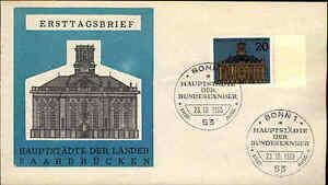 1965-FDC-Ersttag-Sonderstempel-BONN-20-Pfennig-Saarbruecken-Hauptstadt-Saarland