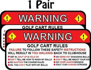 Club Car Ezgo Golf Cart Warning Rules Funny Decal Sticker 2 50 X 5 25 P246 Ebay