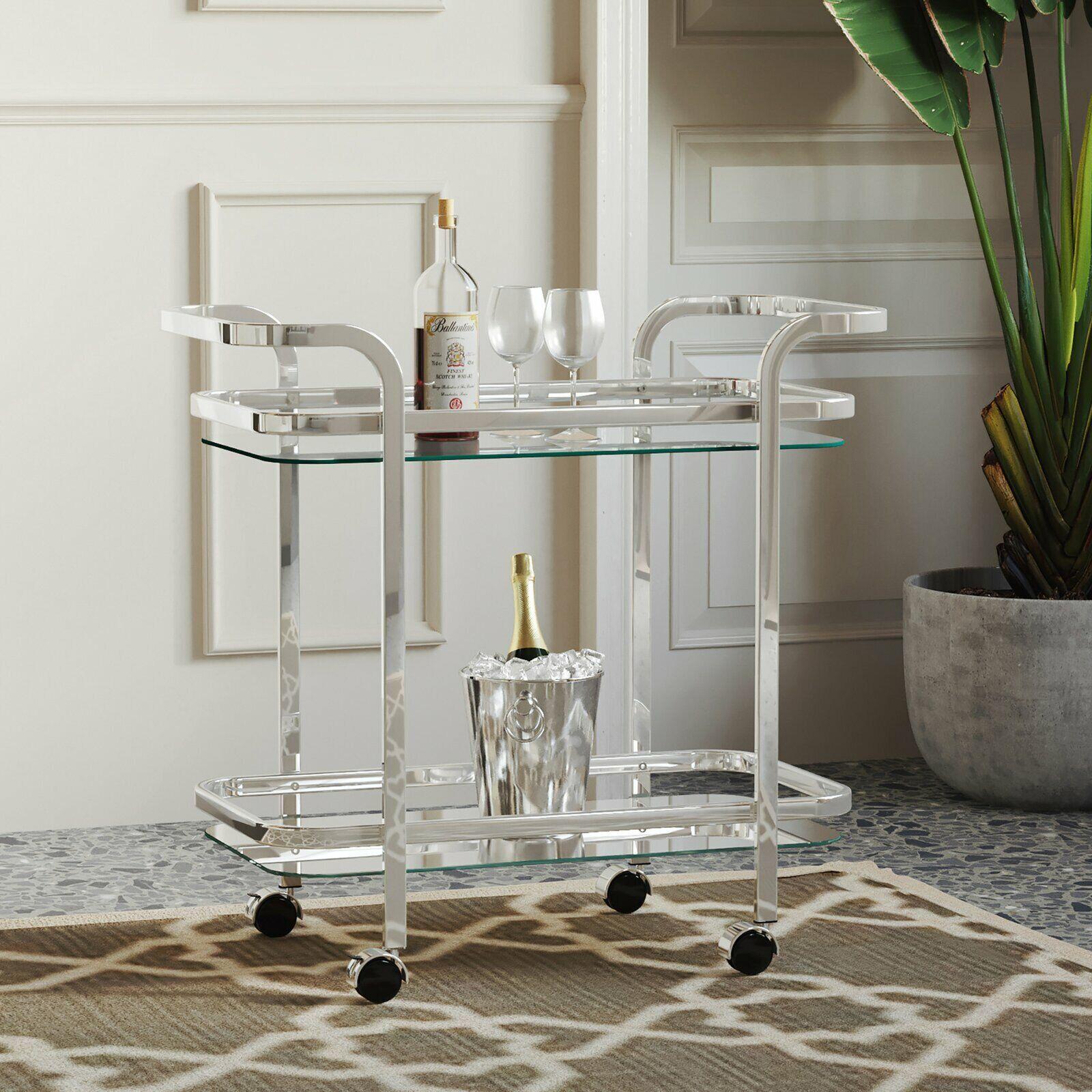 Metal Serving Cart Silver For Sale Online Ebay