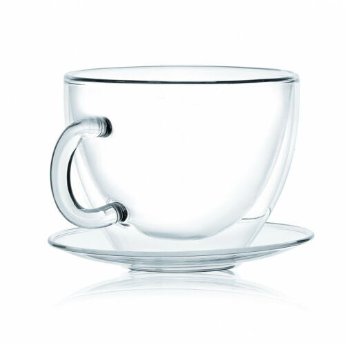 8.6 Oz JavaFly Double Wall Glass Cup With Saucer Set Of 8