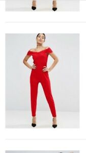 27159e7798 Image is loading ASOS-Red-Jersey-Jumpsuit-With-Lace-Wrap-Bardot-
