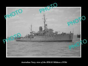 OLD-POSTCARD-SIZE-PHOTO-OF-AUSTRALIAN-NAVY-SHIP-HMAS-MILDURA-c1950