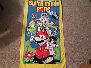 RARE-VTG-1989-Nintendo-Super-Mario-Bros-Beach-Towel-80s-princess-toadstool