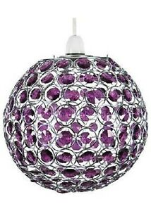Round globe pendant light shade pendent chrome crystal plum purple image is loading round globe pendant light shade pendent chrome crystal mozeypictures Images