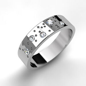 Image Is Loading White Gold Wedding Ring Fizzy Diamond Set Design