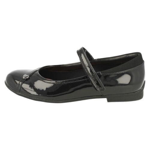 Negro Ajuste Nena Colegio Charol ' Muñequita De Clarks' Niña F Zapatos zqXna