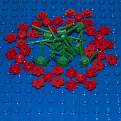 3741 // 3742 BRAND NEW. LEGO: Pack of 10 Green Stems /& 32 White Flowers.