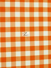 """CHECKERED GINGHAM POLY COTTON PRINTED FABRIC - Orange - 57""""/59"""" WIDTH SOLD BTY"""