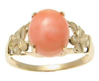 GENUINE NATURAL PINK CORAL RING HAWAIIAN PLUMERIA FLOWER SOLID 14K YELLOW GOLD