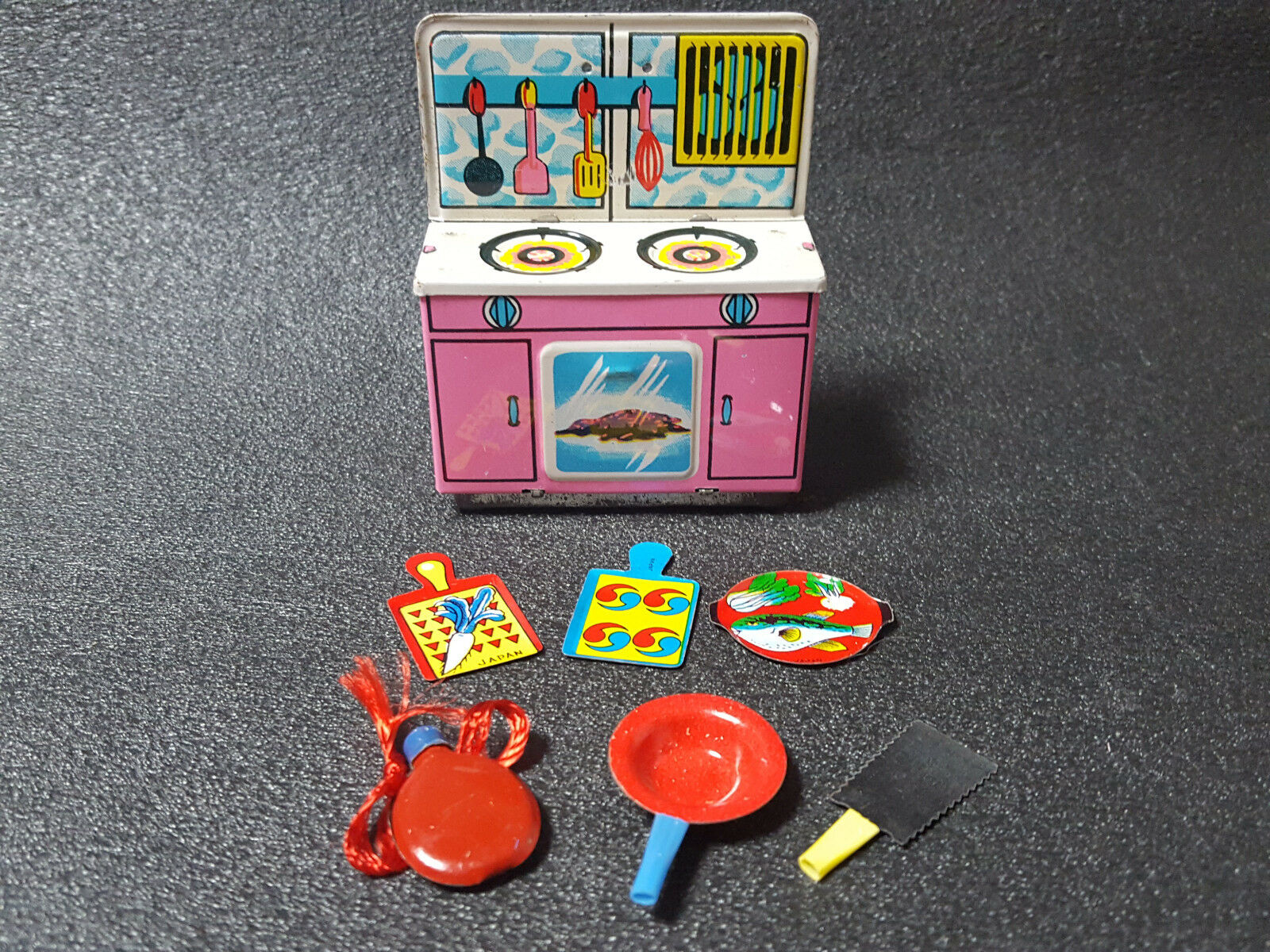 Tin Toy Toy Cooking and furniture sets Made in JAPAN antique Old Toy Small Size