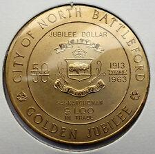 CANADA TRADE DOLLAR 1963 NORTH BATTLEFORD SASKATCHEWAN GOLDEN JUBILEE
