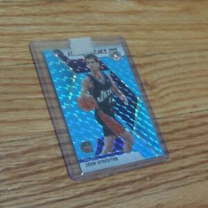 2019-20 John Stockton Mosaic Hall of Fame Blue Fluorescent Prizm Holo #4/15 Jazz