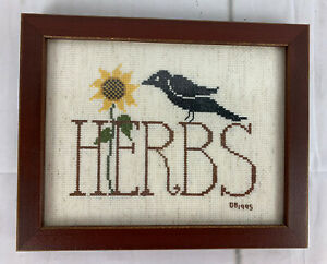 Herbs-Sunflower-Crow-Finished-Cross-Stitch-Picture-Framed