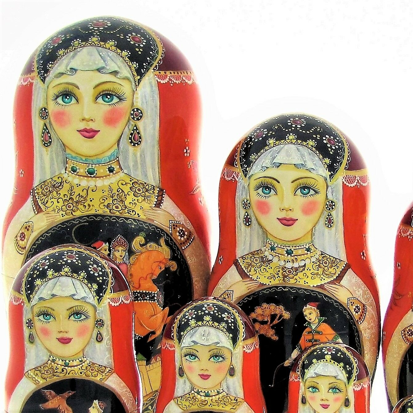 10 Poupées russes H26cm exclusive Palekh peint main signé Matriochka Nested Doll