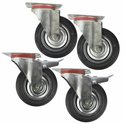"6"" (150mm) Rubber Swivel And Swivel With Brake Castor Wheel (4 Pack) Cst010_01"