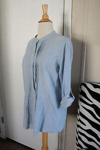 J-Jill-JJill-Striped-Cotton-Long-Roll-Up-Sleeve-Top-Shirt-Blue-Small