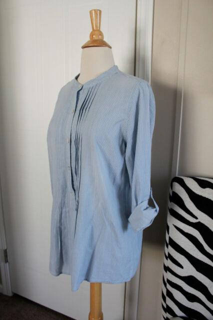 J Jill JJill Striped Cotton Long Roll Up Sleeve Top Shirt Blue Small