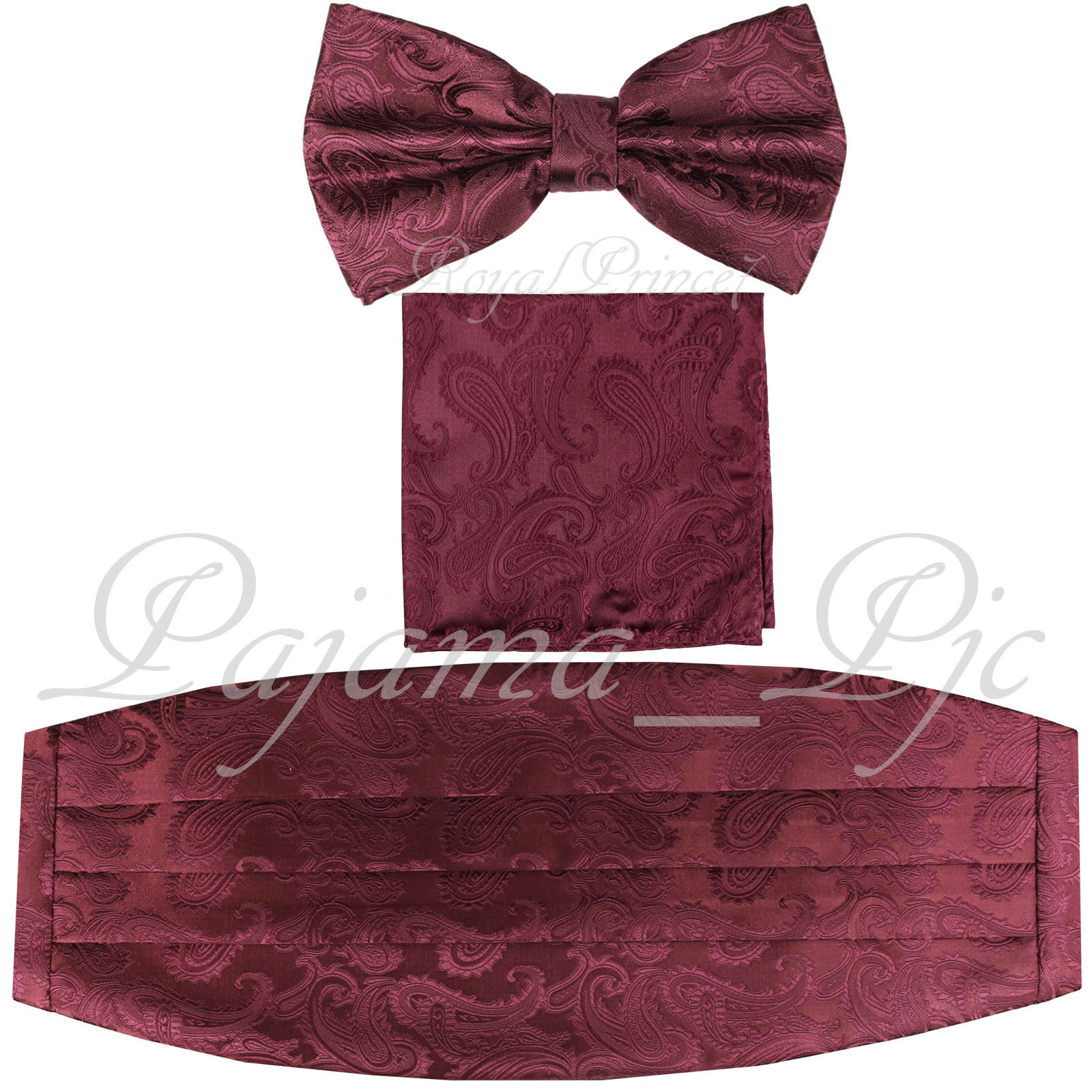 Brand New Paisley RED Red Cummerbund And Bow tie /& Pocket Square Hanky Set