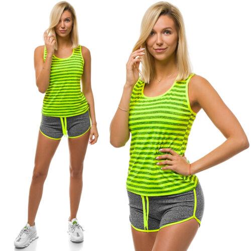 Sportanzug Trainingsanzug Kurzhose T-Shirt Basic Slim Fit Z//D1012 OZONEE Damen