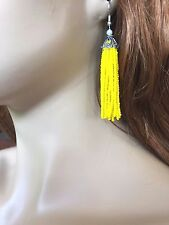 YELLOW BEADED HANDMADE TASSEL LONG FASHION TRENDY CHANDELIER EARRINGS E55/1