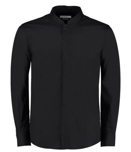 Kustom Kit-Manica Lunga Camicia collo alla coreana-Tailored Fit-Camicia formale